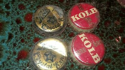 Bay City, Mich. KOLB Brewery two different beer bottle caps Michigan lot of 4