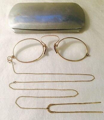 """Antique Gold Tone / Filled? """"AO"""" Spring Pince Nez Spectacles with Hairpin CHAIN"""