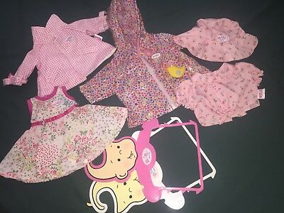 5 x ZAPF CREATIONS BABY BORN DOLL CLOTHING ITEMS + 2 x OUTFIT HANGERS