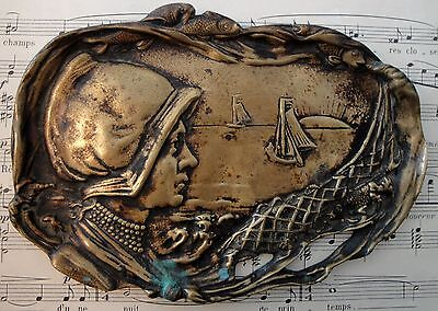 Antique French Art Nouveau bronze tray (maritime scene, fish, boat) c1920