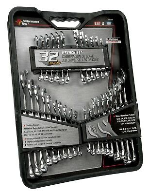 32-Piece SAE and Metric Wrench Set Craftsman Combination Standard Tools Storage
