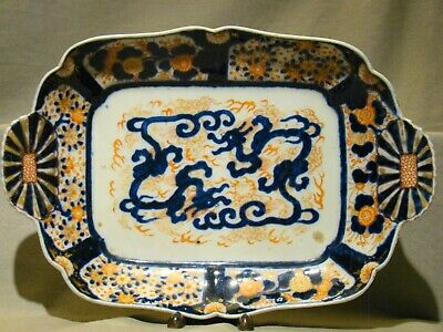 "Meiji Imari Porcelain Hand Painted Large Square Tray Platter 11 3/4"" 19th c"