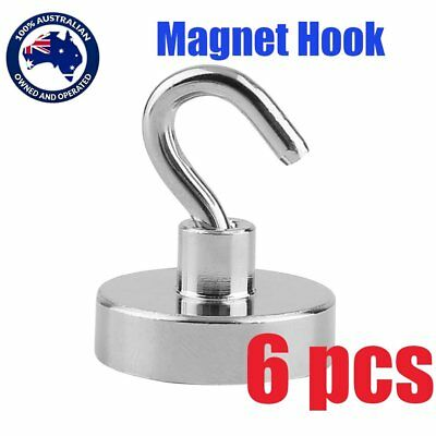 6x 22kg Strong Magnet Hooks Rare Earth N38 Neodymium Magnetic Hanger Holder