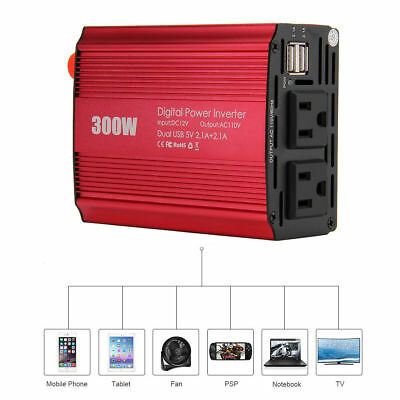 150W/300 WATT Car Power Inverter Laptop Phone Charger DC to AC Adapter