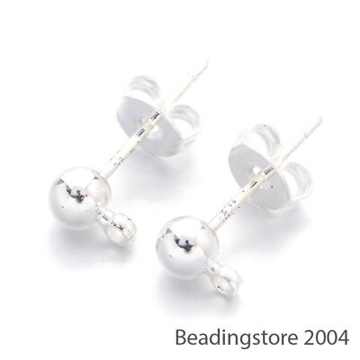 20pcs Silver Plated Brass Ball Earring Posts Ear Stud Findings with Earnuts 16mm