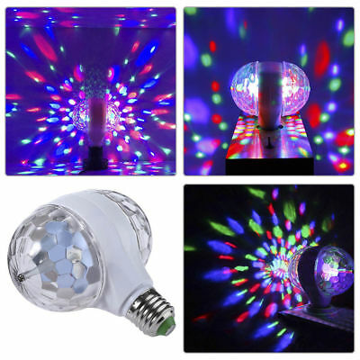 2-Head E27 LED Lights Crystal Ball Bulb Rotating Party Xmas Disco Stage RGB Lamp