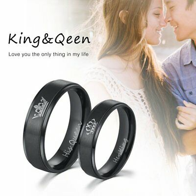 Romantic Men Women Couples Titanium Steel Ring Engagement King Couple RiSQ