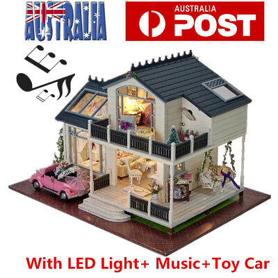 Wooden Doll House Pretend Play Furniture DIY With Car LED Light Music Kids Toy
