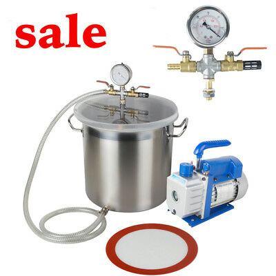 Compact 5Gallon Stainless Steel Vacuum Degassing Chamber Silicone Kit +Pump Hose