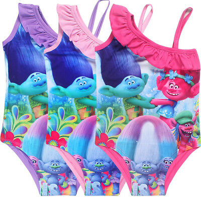 Girls TROLLS swimsuit swimwear swimmer bather swimming size 3-10Years xmas Gift