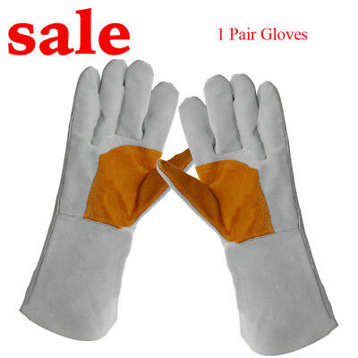 Compact 1Pair 35cm Long Leather Welding Gloves Top Grain Cowhide Hand Protection
