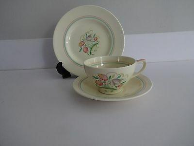 VINTAGE Susie Cooper Crown Works Pottery 'Dresden Spray' Trio-Cup,Saucer & plate