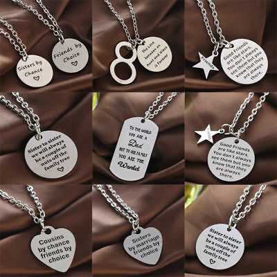 Sister Dad Heart Charm Pendant Chain Necklace Friendship Women Men Family Gifts