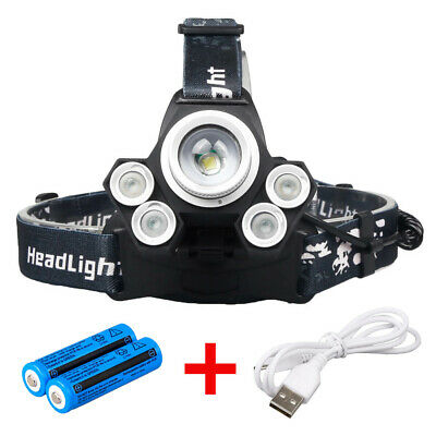 80000lm 5-led Zoomable LED Rechargeable 18650 Headlamp Head Light Torch Charger