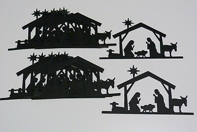 Nativity Scene In Black Set Of 12 Die Cuts