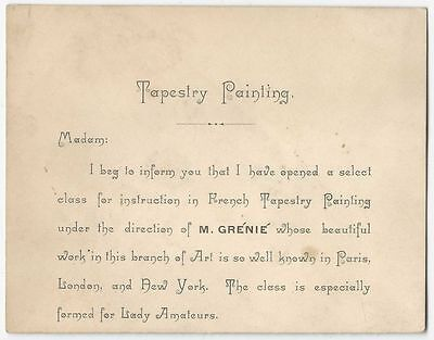 1882 Victorian Tapestry Painting Class Card -for Barthelemy Grenie