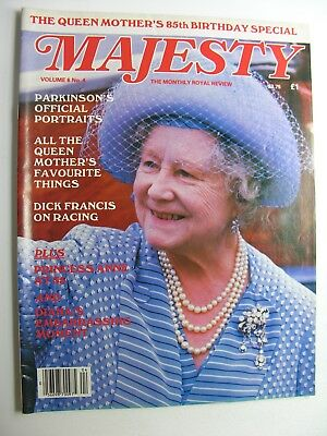 MAJESTY MAGAZINE Vol 6 No 4 Aug 1985 Queen Mother, Dick Francis on Racing, Diana