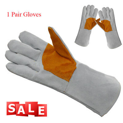 1 Pair 35cm Long Leather Welding GlovesTop Grain Cowhide Hand Protection EasyUse