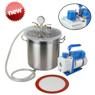 Professional 5 Gallon Vacuum Degassing Chamber Silicone Kit With 3 CFM Pump Hose