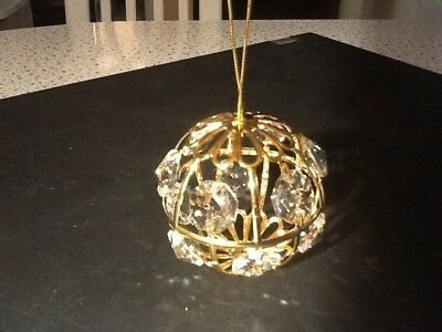 Christmas ornament Swarovski crystal figure 24k gold plated ball