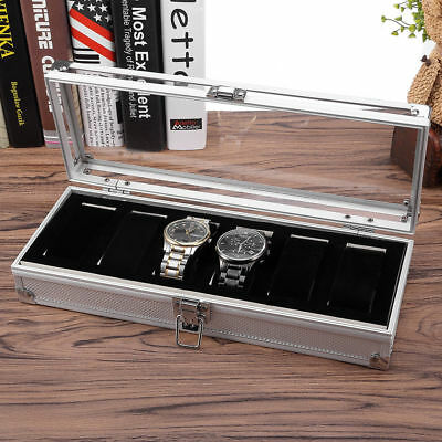 6 Grids Aluminum watch Case Storage Display Box Jewelery Glass Collection