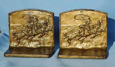 "Vintage Pair Cast Iron Bronze Finish Bookends ""The Roundup"" Cowboy W/ Cattle"