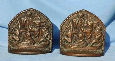 Vintage Pair Cast Iron Bookends of Washington Crossing The Delaware CT Mark