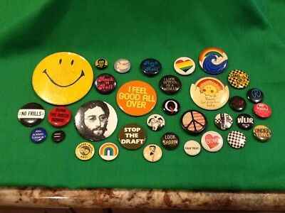 Mixed Lot Of Over 25 Vintage Pins Pinbacks Buttons 1980s Rainbows, Etc