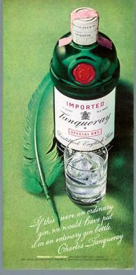 1973 Charles Tanqueray English Gin Green Feather Pen Ordinary Vintage Print Ad