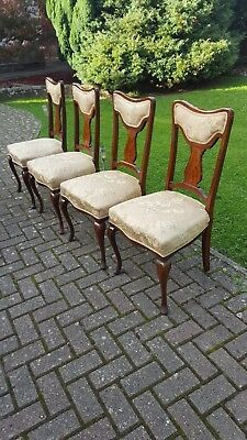 Set of Four Antique Edwardian Mahogany Inlaid Salon Chairs with Padded Seats