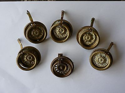 5 Antique Victorian Brass Sunflower Ring Pull Drawer Handles 47mm Dia