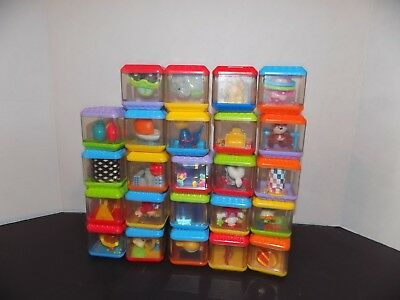Fisher Price Peek A Blocks Toys Circus Animals  cars Lot Of 24