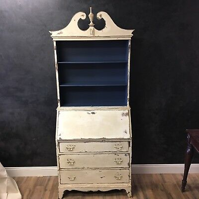 Secretary Bookcase Display Cabinet Open painted Chippy shabby Cottage Primitive