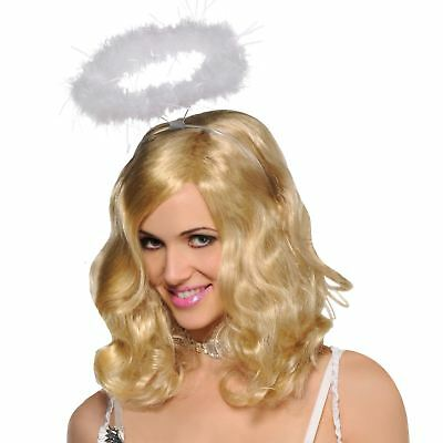 Ladies Marabou Feather White Christmas Angel Fairy Halo Heaven Nativity Costume