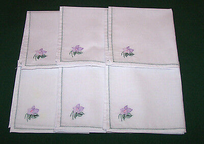 "6 Vintage Violet Embroidered Luncheon Napkins, 11"", Lavender, So Pretty"