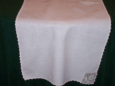 "VINTAGE LINEN RUNNER, CROCHET TRIM,""G"" MONO, ROSE FILET INSERTS, c1920"