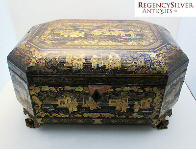 LARGE 19th-Century ANTIQUE Chinese Tea Gilded Lacquered Wood Caddy Chest/Box