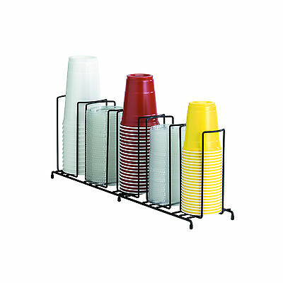 (2) Black Wire Cup & Lid Organizers with 5-Sections DISPENSE-RITE Rack WR-5