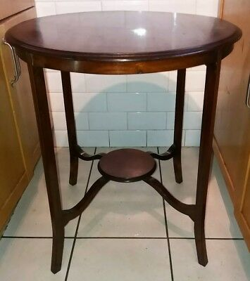 antique mahogany round side occasionall table