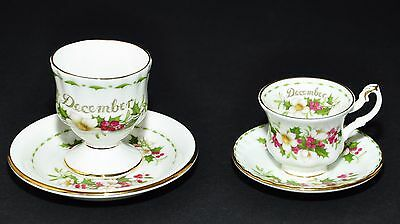 Royal Albert  Flower Of The Month December Christmas Rose Mini Tea Cup & Egg Cup