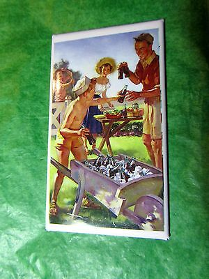SUMMER FUNTIME PICNIC COCA-COLA BOTTLES ON ICE IN WHEELBARROW MAGNET - Lot#131