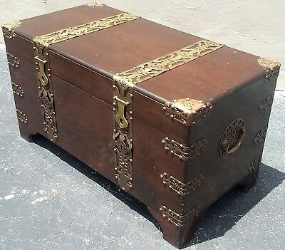 ANTIQUE CHINESE LARGE WOOD CHEST TRUNK storage X Ornate Brass Straps & Accents