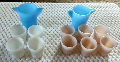 Vintage AKRO AGATE 2 Water Pitchers & 10 Water Cups