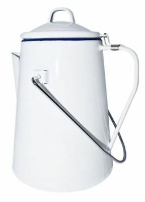 Enamel Coffee Pot White  2L With percolator Included For Campfire Vintage Style