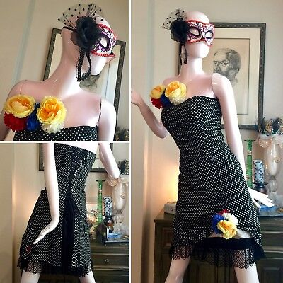7 PC DAY OF DEAD Costume Set Gothic LOLITA TRIPP Corset DRESS Sugar Skull MASK