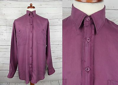 Vtg L-Sleeve Purple Floaty Flouncy Oversize Silk Shirt Indie New Wave -S- DF64