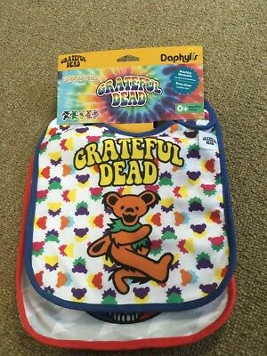 Grateful Dead Tie Dye Dancing Bear and Skull Baby Bib (quantity 2)