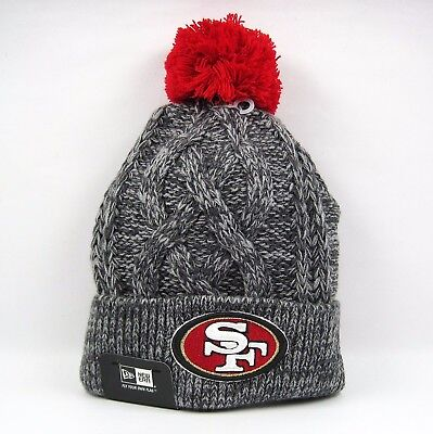 New Era Men's NFL San Francisco 49ers Grey Cable Knit Beanie Hat - One Size