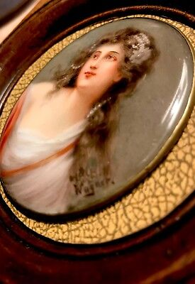 ANTIQUE MINIATURE  K.P.M. PORCELAIN PLAQUE PORTRIAT BY WAGNER  SIGNED 1800's