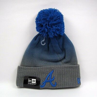 New Era Men's MLB Atlanta Braves Fade Grade Bobble Knit Beanie Hat - One Size
